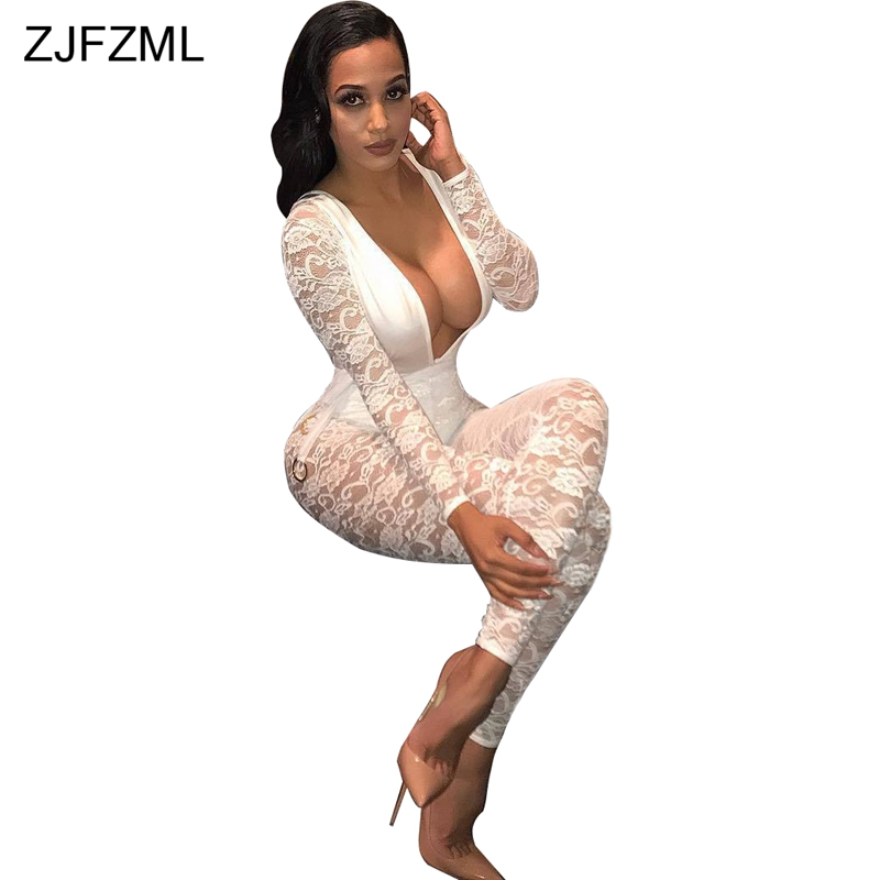 ZJFZML 2018 White Lace Crochet Sexy Party Jumpsuit Women Full Sleeve Deep V-Neck Skinny Romper Mujer Hollow Out Long Bodysuit