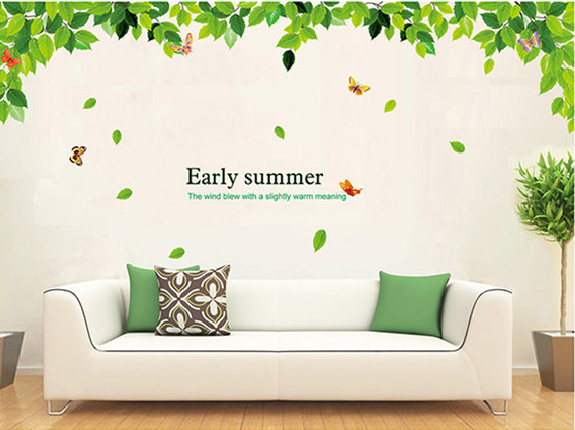 Butterfly Leaves Foliage Wall Sticker Decal Green Leaf