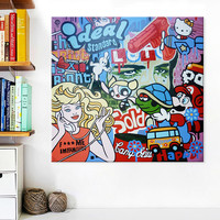 Lichtenstein Pop Art Cartoon Oil painting on canvas Hand painted Wall Art Picture for living Room Andy Warhol home decor 11