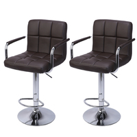 2Pcs 60 80cm Swivel Kitchen Bar Stool Chair with Cushion and Armrest Counter Height Swivel Stool Adjustable Pub Stool   US Stock