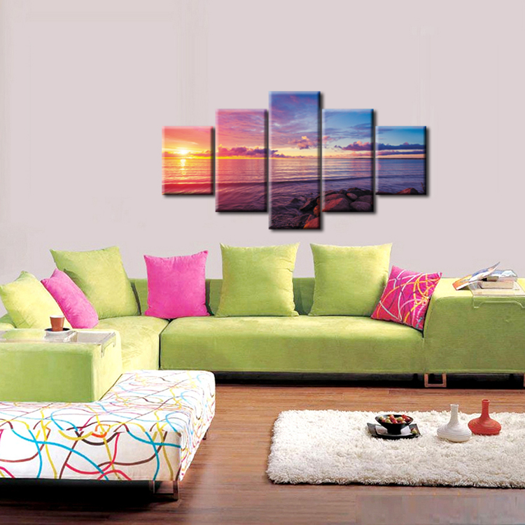 5 Pieces Modern Sunset Beach Wall Art Canvas Prints Ocean Waves On Canvas Home Decoration For Living Room Framed J009 049 in Painting Calligraphy from Home Garden