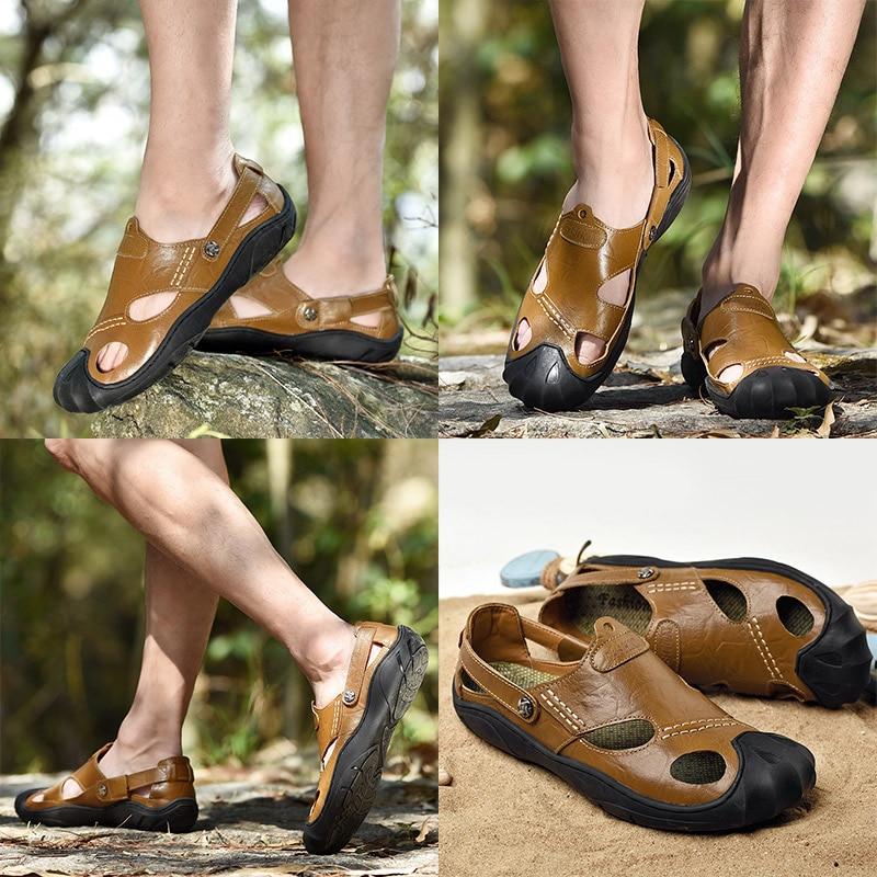 Fashion Sandalias Summer Mens Shoes Leather Sandals For Men Out doors Casual Beach shoes Black Brown Khaki Big Size 38-46