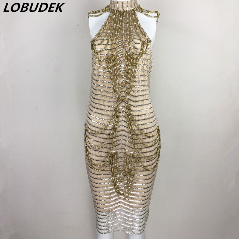 Occident Sexy sparkly Sequins pearl Dress Female singer Adult Costume Star Party Birthday Celebration Host stage one piece dress