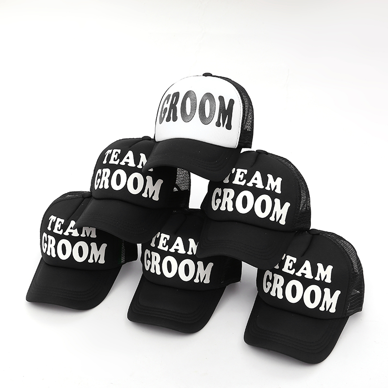 VORON GROOM TO BE TEAM GROOM Single man Hats men Wedding Preparewear Trucker Caps White black Summer Mesh Free Shipping