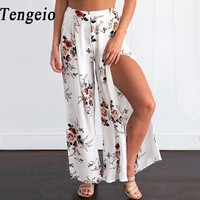 Tengeio Women Summer Boho Floral Wide Leg Pants Side Split Culottes Loose Ladies Beach Vintage Trousers