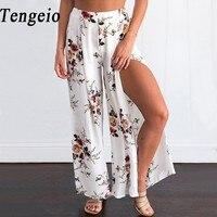Tengeio Women Summer Boho Floral Wide Leg Pants Side Split Culottes Loose Ladies Beach Vintage Trousers