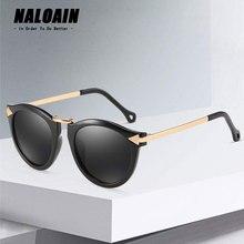 NALOAIN Sunglasses Women Cat Eye Black Blue Pink Green Lens Vintage Retro Sun Glasses Luxury Brand Designer