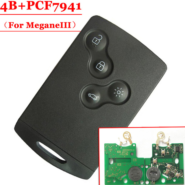 무료 배송 (5 개/몫) pcf7941 칩이있는 4 버튼 원격 카드 433 년 이전 renault megane iii laguna iii 스마트 카드 용 2016 mhz