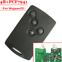 Free Shipping 5pcs LOT 4 Button Remote Card With Pcf7941 Chip 433MHZ For Renault Megane III