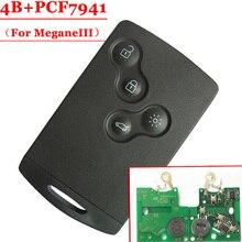Frete grátis (5 pçs/lote) 4 Cartão com pcf7941 chip de Botão do controle remoto 433MHZ para renault Laguna Megane III III Cartão Inteligente antes de 2016
