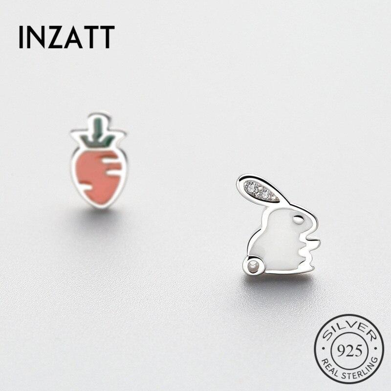 INZATT Asymmetry Cute Cartoon Crystal Rabbit Radish Enamel Stud Earrings For Women Birthday Party Fine Jewelry 925Silver Gift