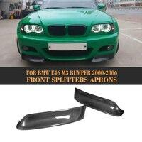 Carbon Fiber Car Front Bumper Splitter Lip Corner Apron for BMW E46 M3 2000 2003 Car Spoiler Sticker