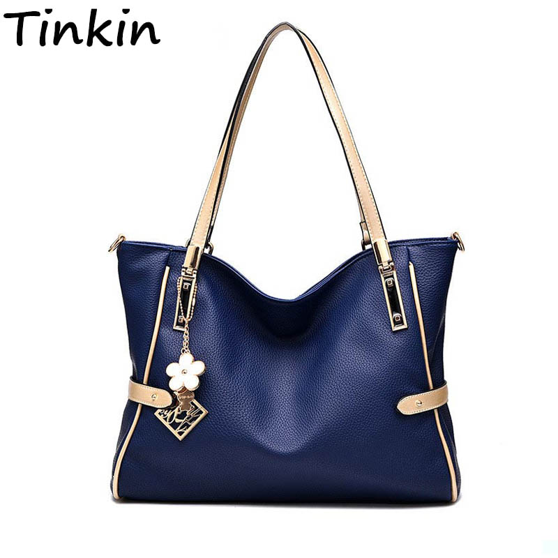 Tinkin Fashion Women Solid Shoulder Bag Soft Large Handbag Luxury PU Leather Crossbody Bag Simplicity Female Totes
