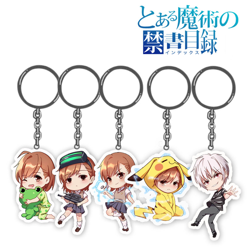 Anime Toaru Kagaku No Railgun Keychain Misaka Mikoto Character Pendants Acrylic Keyring Collection Gift One Size Printed
