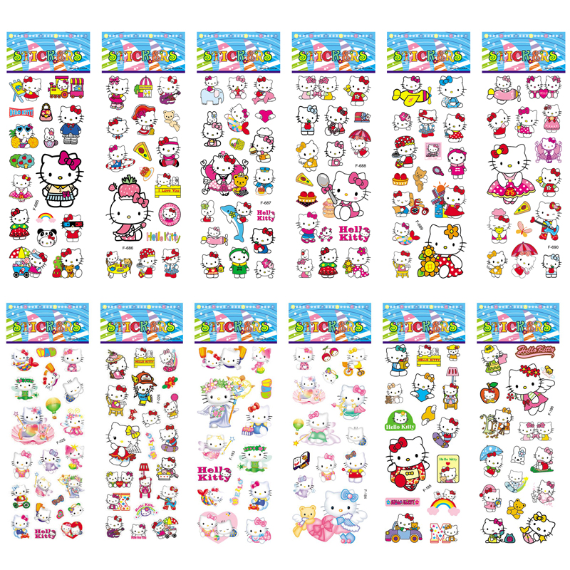 12 sheets/set Bubble Stickers 3D Cute Cartoon Hello Kitty Cat Pattern Sticker Scrapbooking Toys For Kids Children Gift cute cartoon animals pattern blackboard wall stickers for children s bedroom decoration
