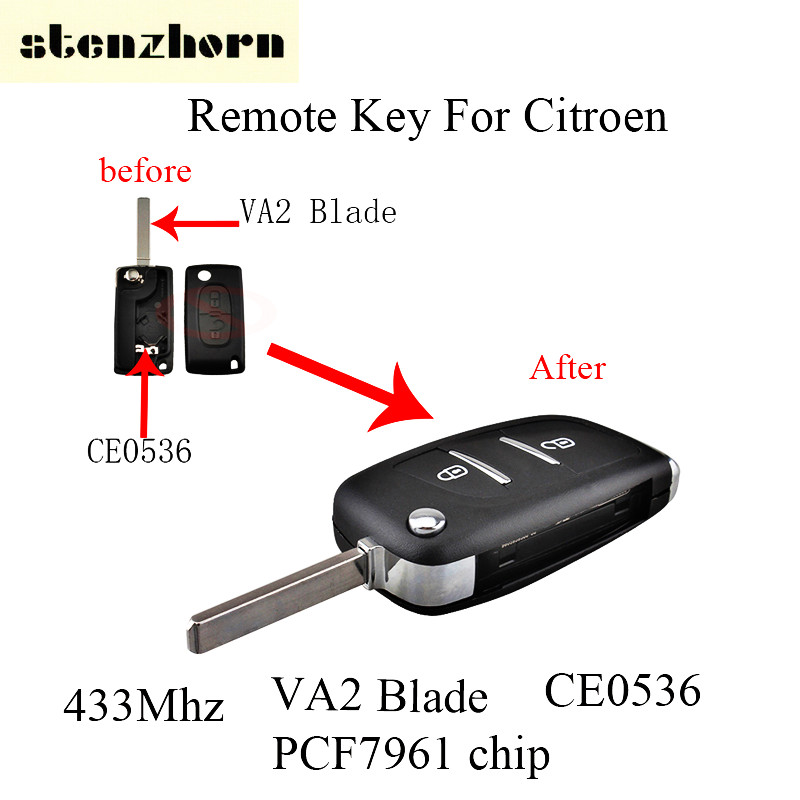 Stenzhorn 2Pcs*433Mhz 2Buttons Flip Modified Remote Key ASK Signal For Citroen C1 C2 C3 C4 C5 2005-2011 VA2 Blade+PCF7961 Chip ...