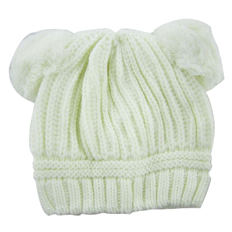 0 3Y Baby Dual Ball Knitted Caps Boys Girls Toddler Crochet Beanie Hairball Ear Newborn Hat Cute Children Cap High Quality in Hats Caps from Mother Kids