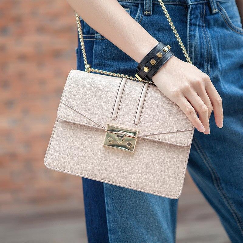 KZNI Genuine Leather Cowhide Clutch Bag with Chain Designer Handbags High Quality Lady Women Bag Leather Handbags Bolsos 9016 сумка через плечо bag with chain 2015s xc374 women leather handbags
