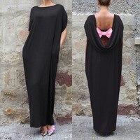 Bbyes negro/púrpura para mujer verano bowknot flojo encapuchado Vestido de manga corta señoras de la tarde del partido vestido largo vestido de bola