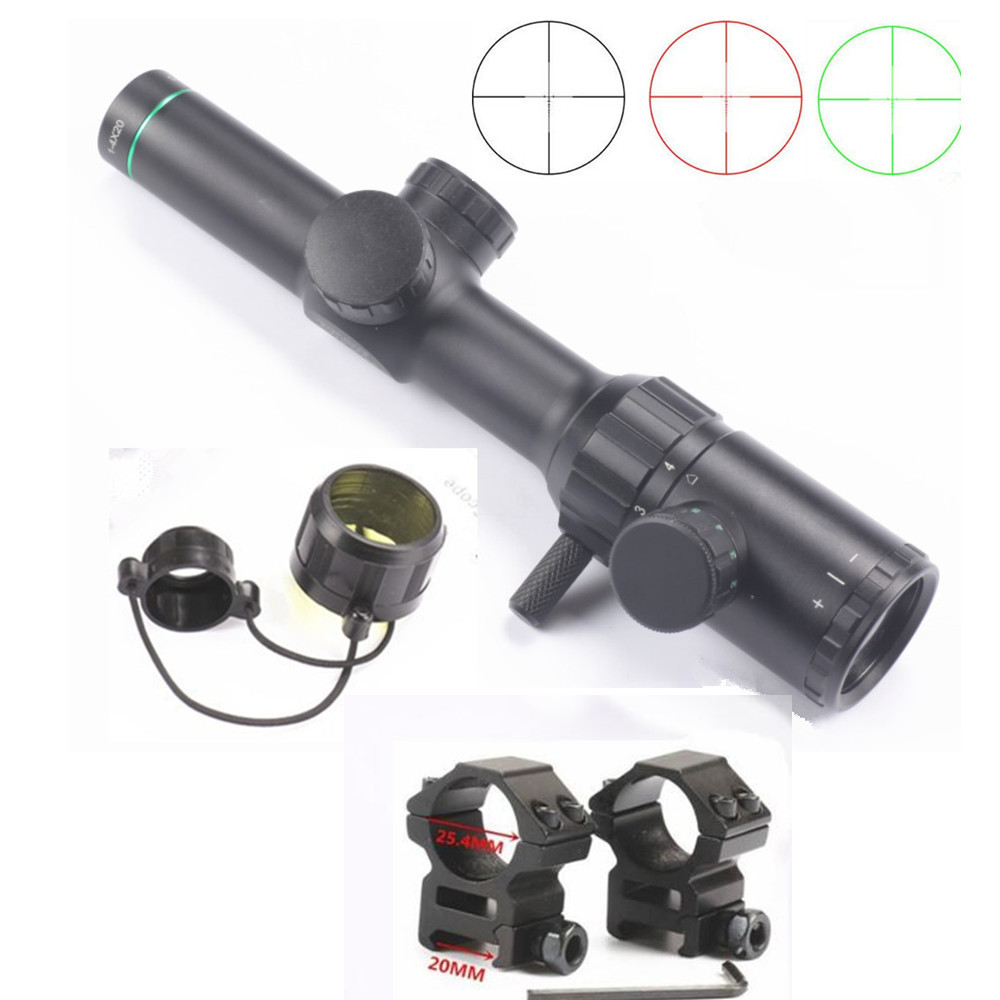 Hunting Rifle Air Gun Scope Optical Sight 1-4x20 Green Red Illuminated BDC Reticle + 25.4mm Scope Mount 20mm Rail caza shooter 4 16x50aoe illuminated reticle outdoor optic sight hunting monocular gun accessories komen met gratis scope mount