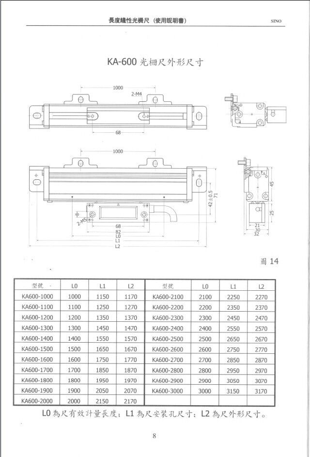 Free shipping SINO KA-600 1000~3000mm 5micron TTL linear glass scale KA600 0.005mm digital read out For Mill Or Lathe Machine