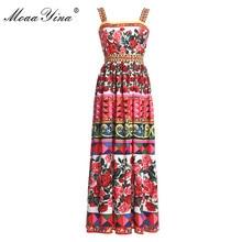 MoaaYina Designer Runway Dress Summer Women Rose Print Beaded Spaghetti strap Backless Ruched Holiday Elegant Vintage Dress все цены