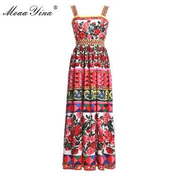 цена на MoaaYina Designer Runway Dress Summer Women Rose Print Beaded Spaghetti strap Backless Ruched Holiday Elegant Vintage Dress