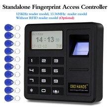 อัพเกรดสแตนด์อโลนลายนิ้วมือ Access Controller 125 KHz/13.56 MHz RFID Keypad Board 500 ให้คะแนน Smart Card Reader จอแสดงผล