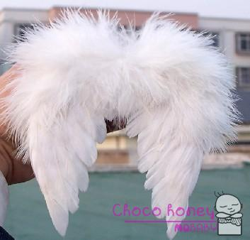 Infant Baby Feather Photography Photo Prop New White Mini Angel Wings 0 6M Costume Kid Newborn Pet Halloween Props Accessory - Choco honey store