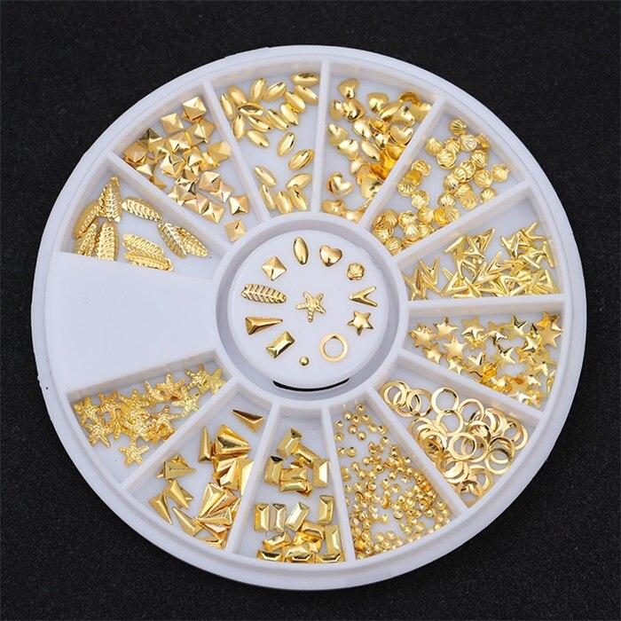 3D металлические украшения для нейл-арта, золотая металлическая цепочка, бисер, линия, много размеров, змеиная кость, сделай сам, украшение для маникюра, нейл-арта, 1 коробка - Цвет: 403460