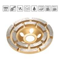 100mm 4 Sanding Disc Diamond 2 Row Segment Grinding Wheel Sander Grinder Cup 20mm Inner Hole