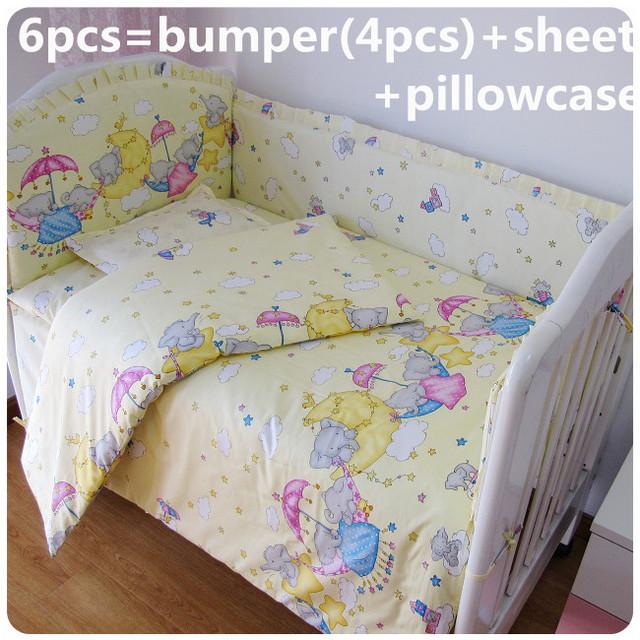 2016! 6 PCS fundamento do bebê Set colorido berço pára choques 100% algodão cama berço ( bumpers + folha + fronha )