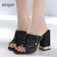 BYQDY Fashion Denim High Heels Sandals For Women Summer Shoes Female Gladiator Peep-Toe Thick Woman