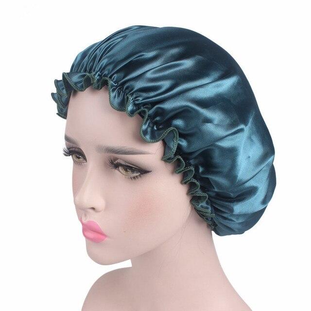 Satin Renda Wanita Wanita Tidur Tidur Malam Cap Kepala Cover Sorban Satin  Bonnet Topi Salon SPA e215f9eaf7