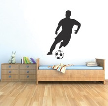Soccer Player Wall Art Decal Sticker for Kids Bedroom Sports Football Home bedroom Wall Decor Mural DIY Removale Decal YO-135 3d soccer player and goal wall art sticker decal