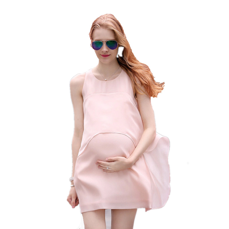 The New Summer Expectant Mother Casual Dress Sleeveless Loose Maternity Dress Chiffon Pregnant Women Clothes