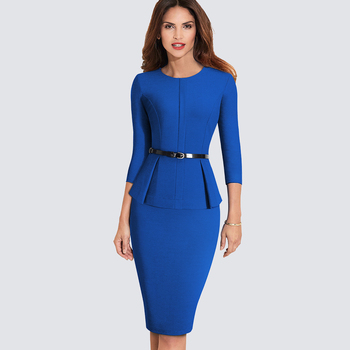 New Arrival Autumn Formal Peplum Office Lady Dress Elegant Sheath Bodycon Work Business Pencil Dress 1