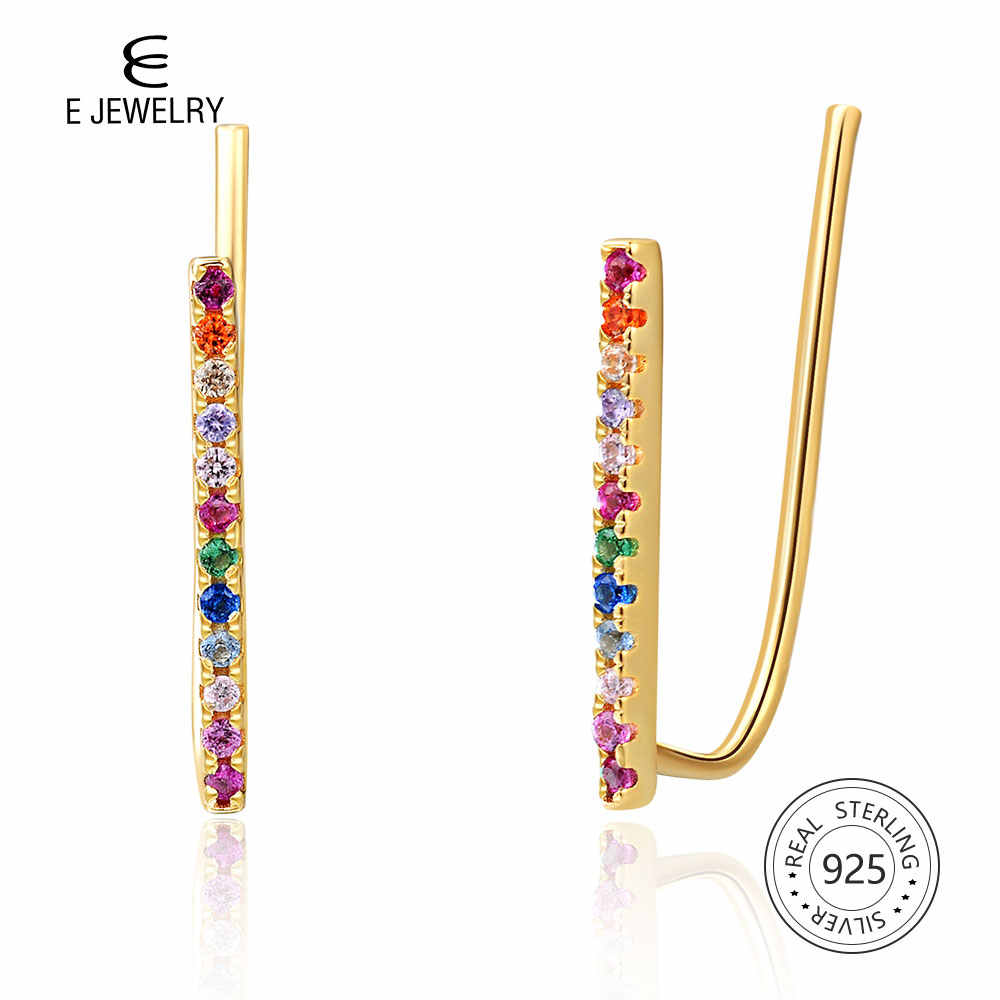 E Jewelry 14K Gold Plated 925 Sterling Silver Bar Earrings for Women Rainbow Stud Earings Korean Fashion Jewelry 2019 Girls