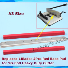 A3 Size 1Pc Blade +2Pcs Red Base Pad YG-858 Replaced Steel Blade for Heavy Duty Stack Paper Ream Guillotine Cutter Machine