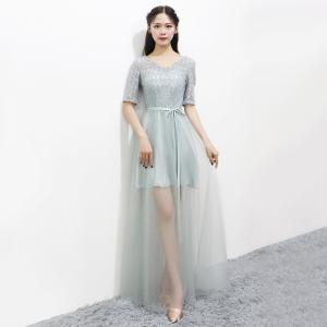 Grey Bridesmaid Dresses Short Sleeves  Wedding Party Dresses for Women Perspective Sequins Dress Back of Bandage