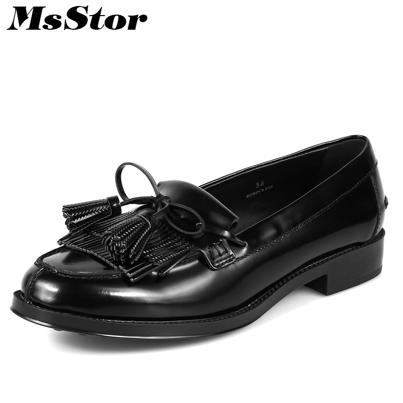 MsStor Round Toe Natural leather Women Flats Casual Fashion Ladies Flat Shoes 2018 New Spring Fringe Women Brand Flat Shoes hot sale 2016 new fashion spring women flats black shoes ladies pointed toe slip on flat women s shoes size 33 43