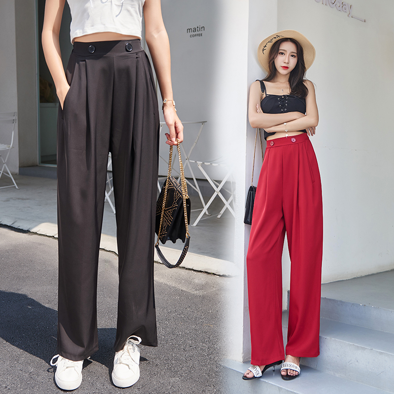 Womem   wide     leg     pants   2019 summer autumn fashion female elegant elastic waist loose chiffon   pant   casual trousers lady pantalon