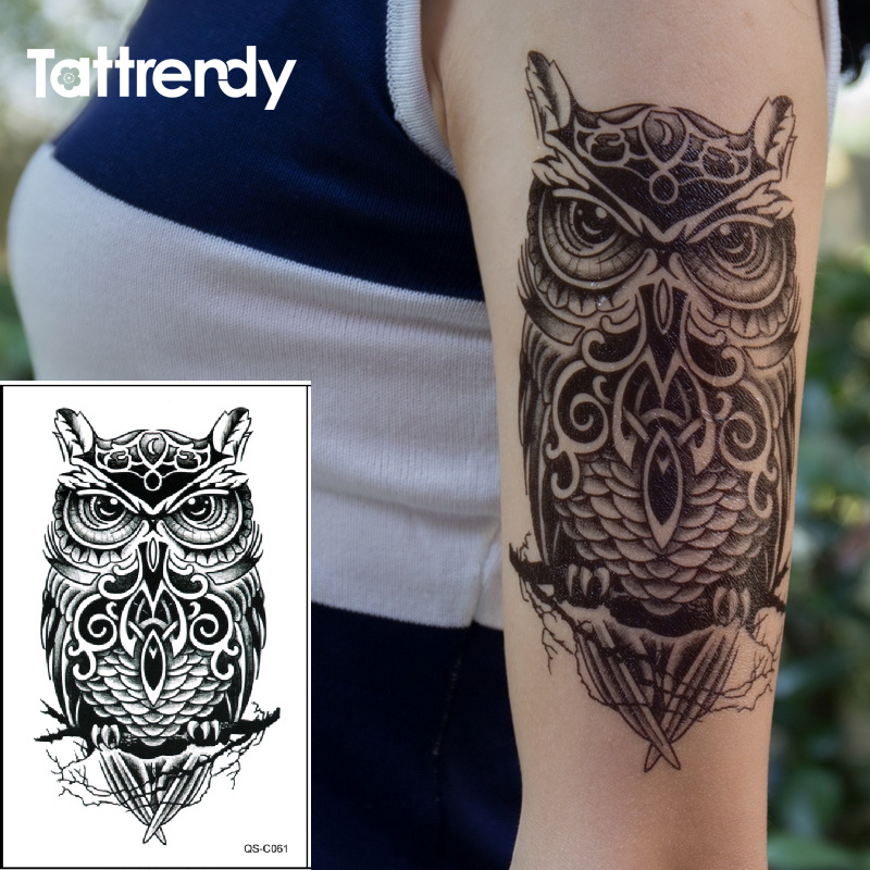 Waterproof Temporary Tattoo Sticker On Arm Shoulder Big Size Black Ink Owl Water Transfer Fake Tattoos Flash For Men Women C061