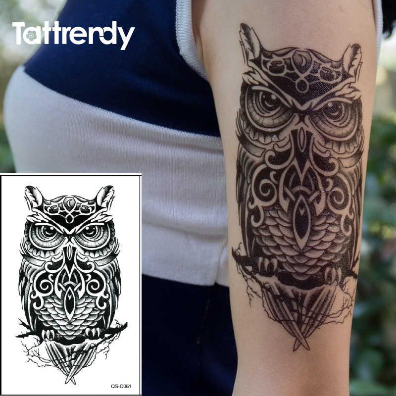 ce110da094647 Waterproof Temporary Tattoo Sticker on arm shoulder big size black ink owl  Water Transfer Fake Tattoos