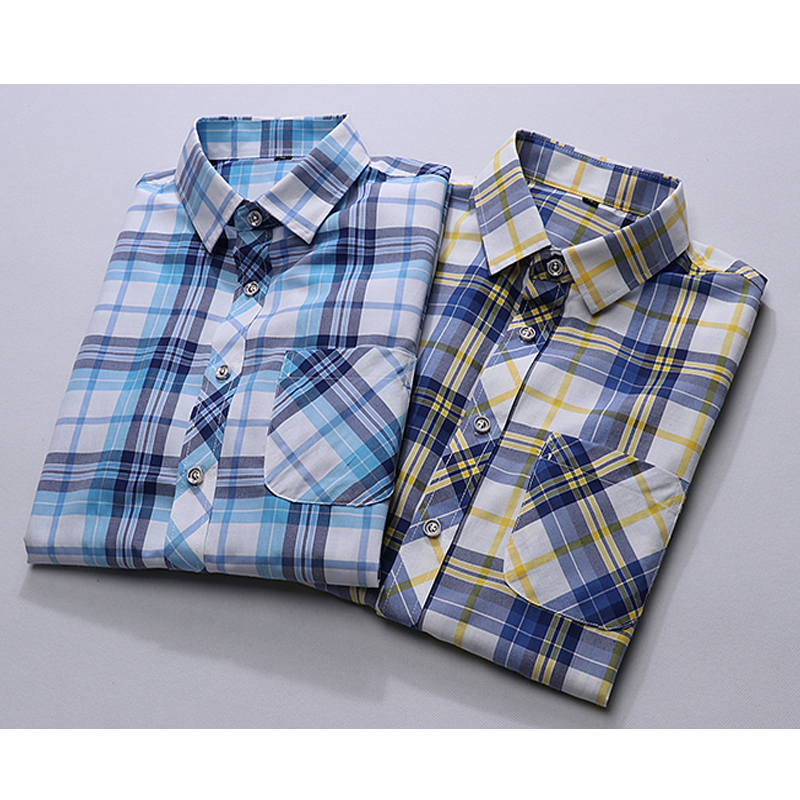 Plus Size M-7XLNew Summer Fashion Men's Shirt Slim Fit Men Short Sleeve Plaid Shirts Mens Clothes Trend Casual Mens Social Shirt