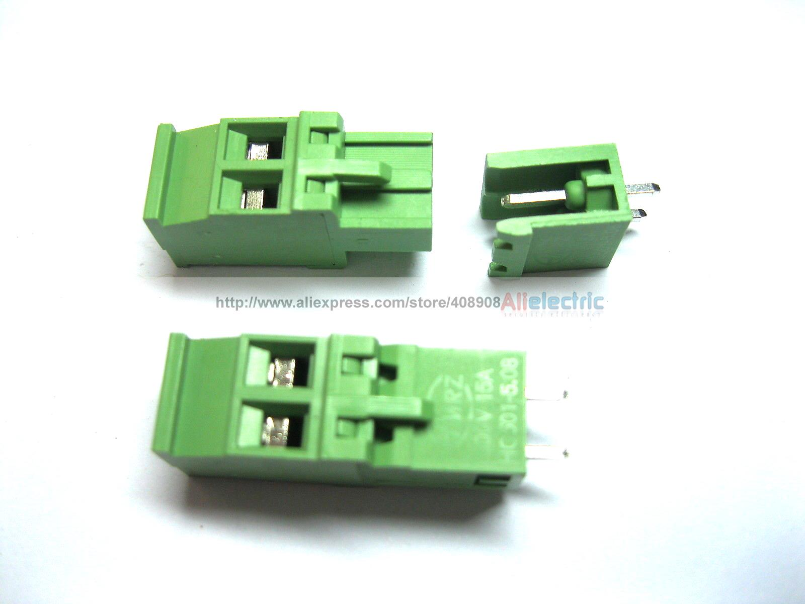 100 Pcs 5.08A 5.08mm Straight 2 Pin Screw Terminal Block Connector Pluggable Type 250 pcs green 2 pin 6 35mm screw terminal block connector wire cage type dc635