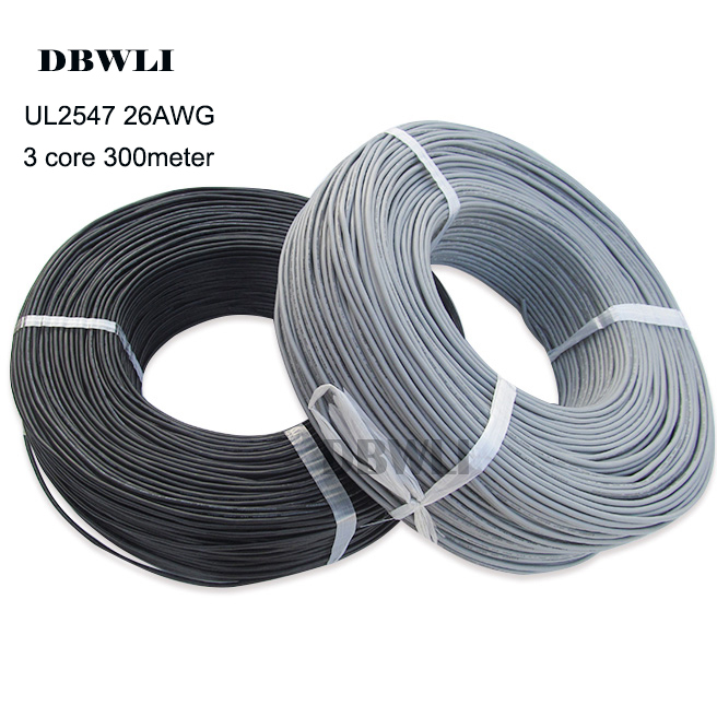 2547 <font><b>26AWG</b></font> <font><b>3</b></font> <font><b>core</b></font> 300meter 984ft shielded <font><b>wire</b></font> UL 2.1 channel Audio line signal cable shield <font><b>wire</b></font> for amplifier,Black Grey image