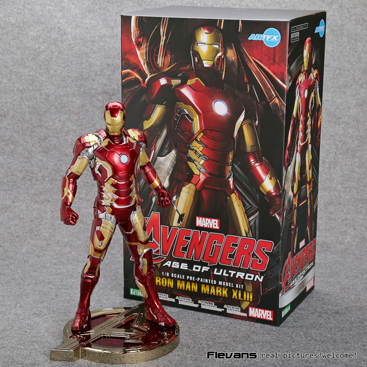 Iron Man Mark XLIII 43 1/6 Scale Pre-painted Figure Model Kit with LED Light