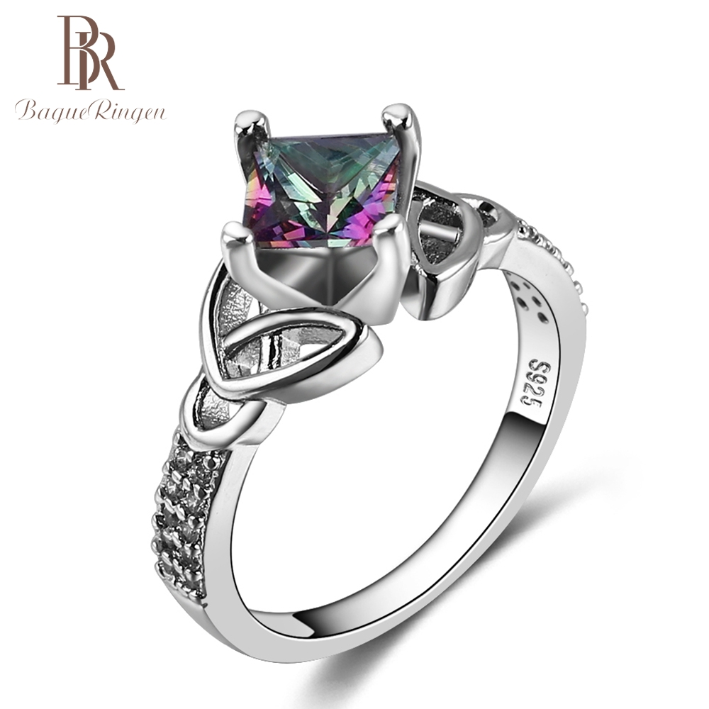 Bague Ringen New Fashion Silver 925 Jewelry Rainbow Fire Mystic Topaz Rings For Women Vintage Anniversary Party Fine Jewelr Gift