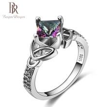 Bague Ringen nueva moda plata 925 joyería Arco Iris fuego Topacio místico anillos para mujeres Vintage aniversario fiesta joyería fina regalo